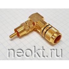 RCA штекер угловой GOLD ЧЁРНЫЙ (РАСПРОДАЖА)