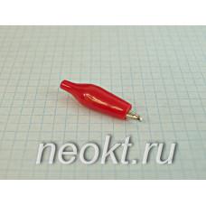 """8-0025 зажим """"крокодил"""" малый красный"""